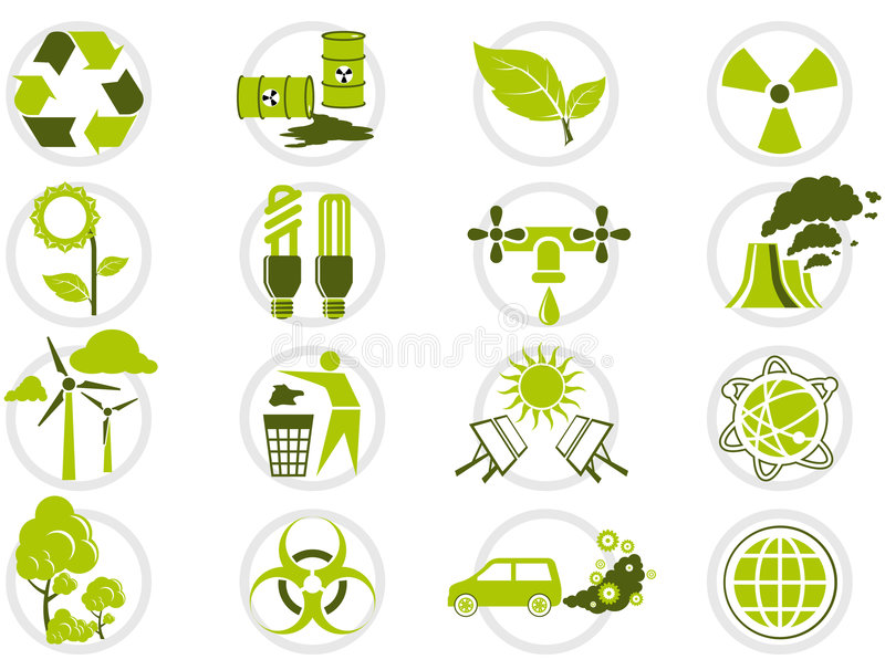 Jogo do ícone da protecção ambiental ilustração royalty free