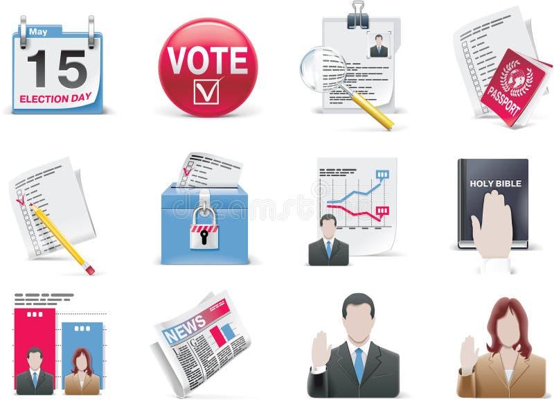 Jogo do ícone da votação e da eleição ilustração do vetor