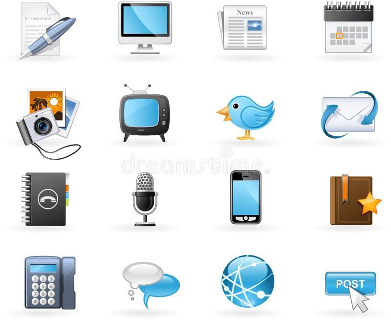 Jogo do ícone das canaletas de comunicação ilustração stock