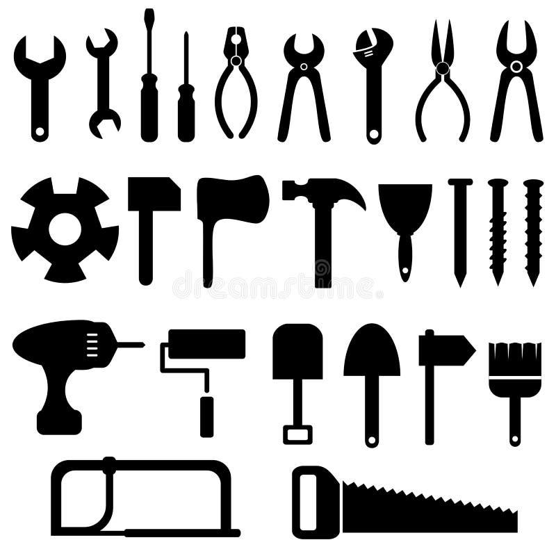Jogo do ícone das ferramentas ilustração do vetor