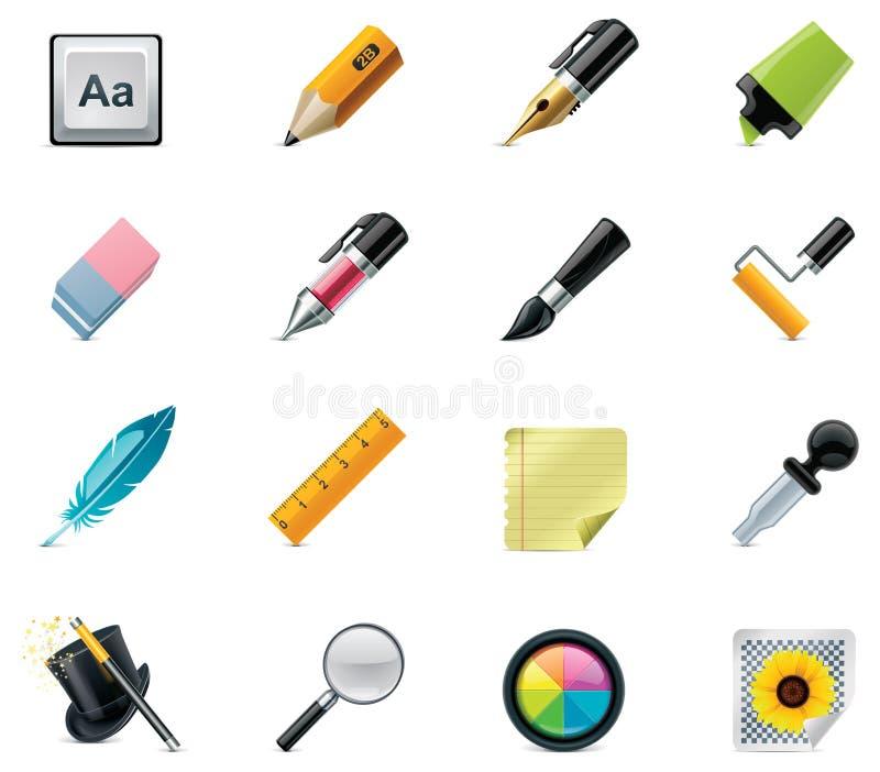 Jogo do ícone das ferramentas do desenho e da escrita ilustração stock
