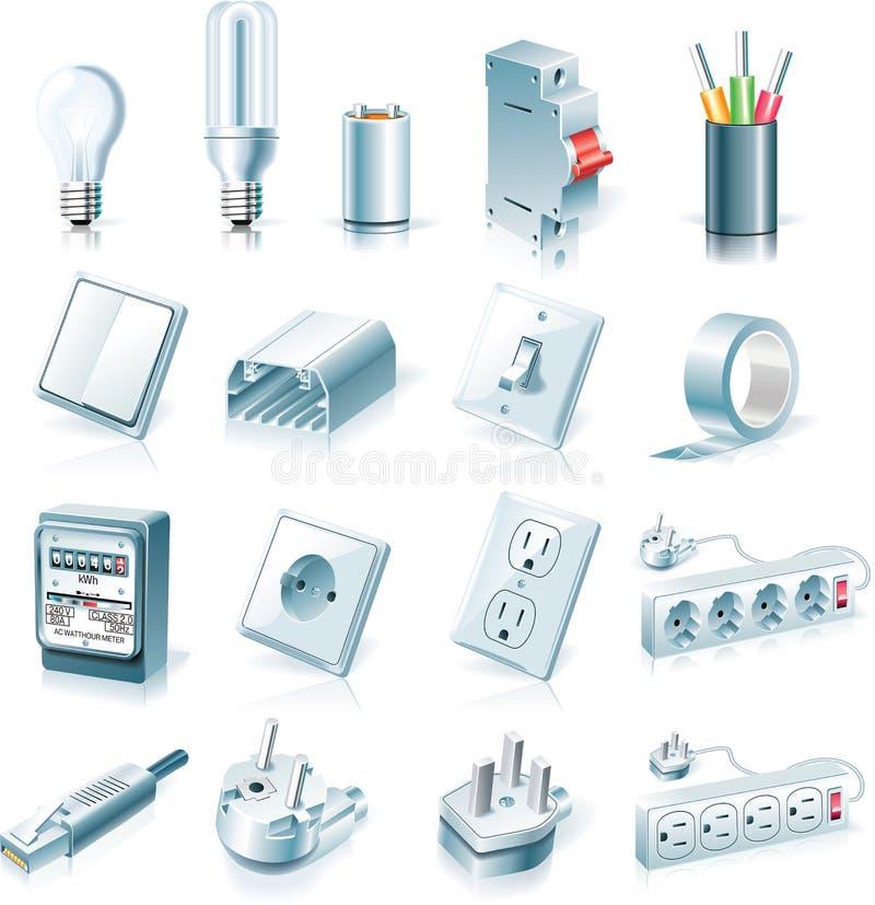 Jogo do ícone das fontes elétricas do vetor