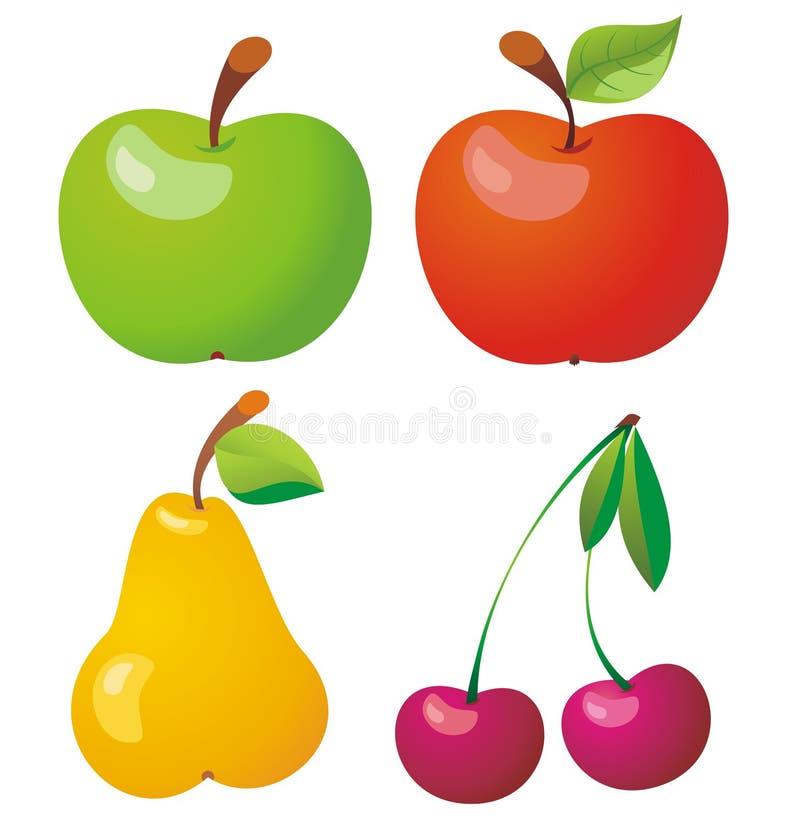 Jogo do ícone das frutas. ilustração stock