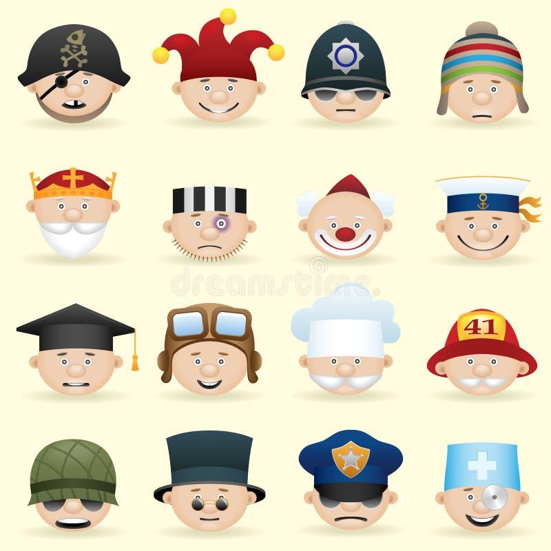 Jogo do ícone das ocupações dos povos ilustração stock