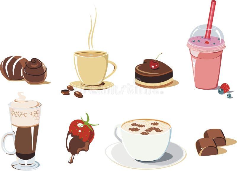 Jogo do ícone das sobremesas e das bebidas ilustração royalty free