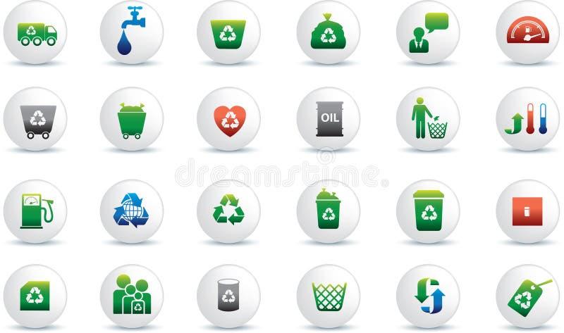 Jogo do ícone de Eco ilustração stock