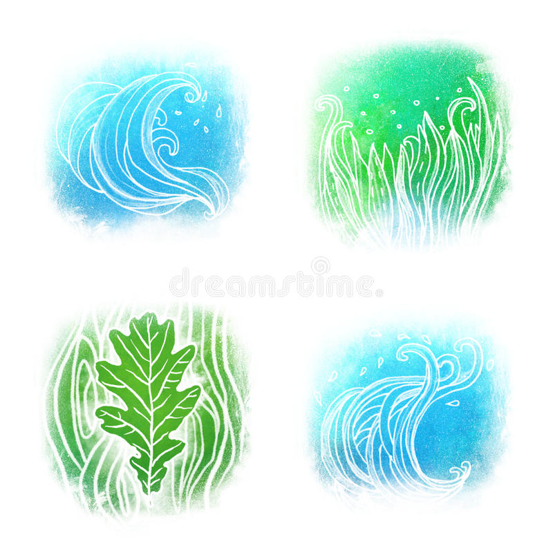 Jogo do ícone de Llustrated das ondas símbolos de uma grama ilustração do vetor