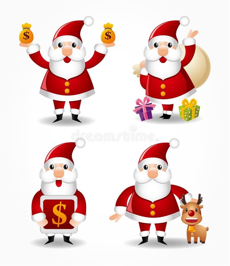 Jogo do ícone de Papai Noel dos desenhos animados ilustração stock