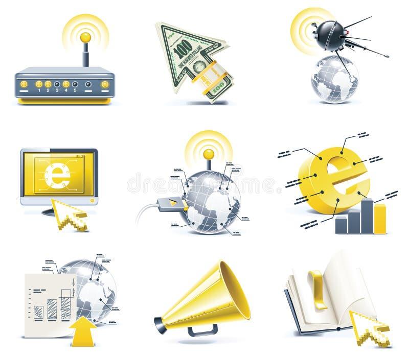 Jogo do ícone de uma comunicação do vetor. Internet, parte 1 ilustração do vetor