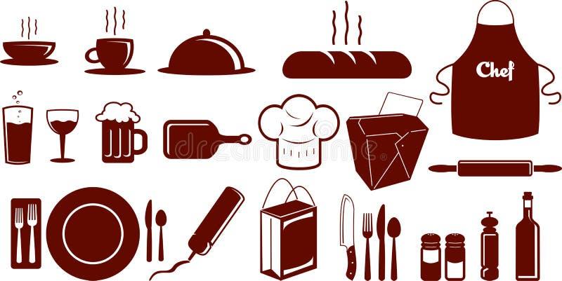 Jogo do ícone do alimento ilustração do vetor