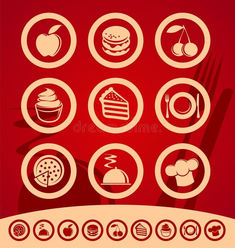Jogo do ícone do alimento ilustração stock