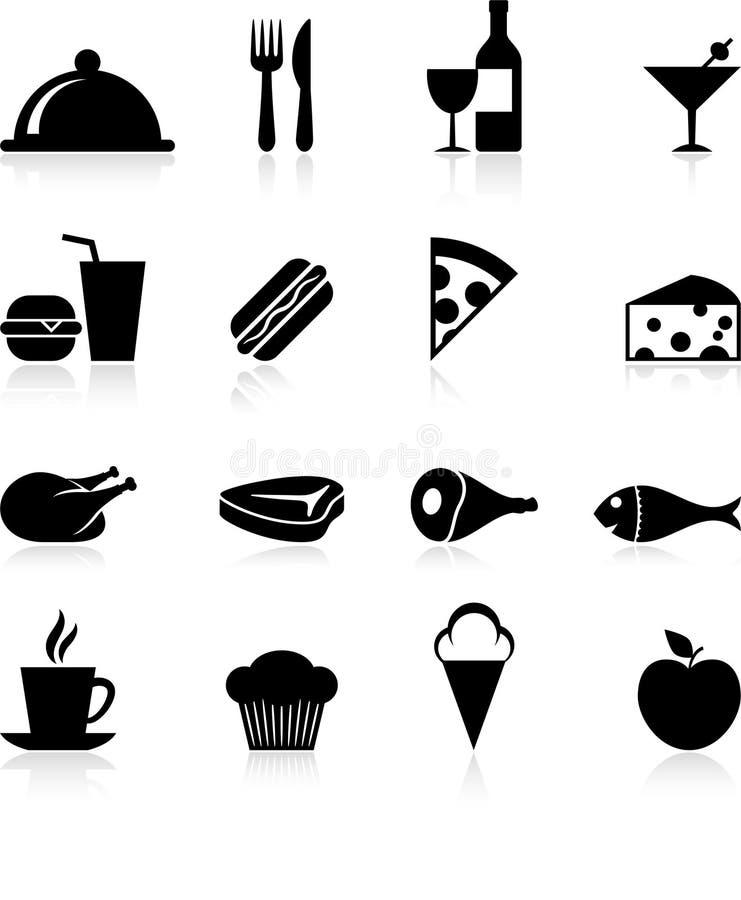Jogo do ícone do alimento do gourmet ilustração royalty free