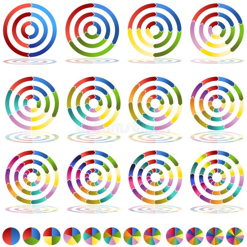 Jogo do ícone do alvo da carta da roda da seta ilustração do vetor