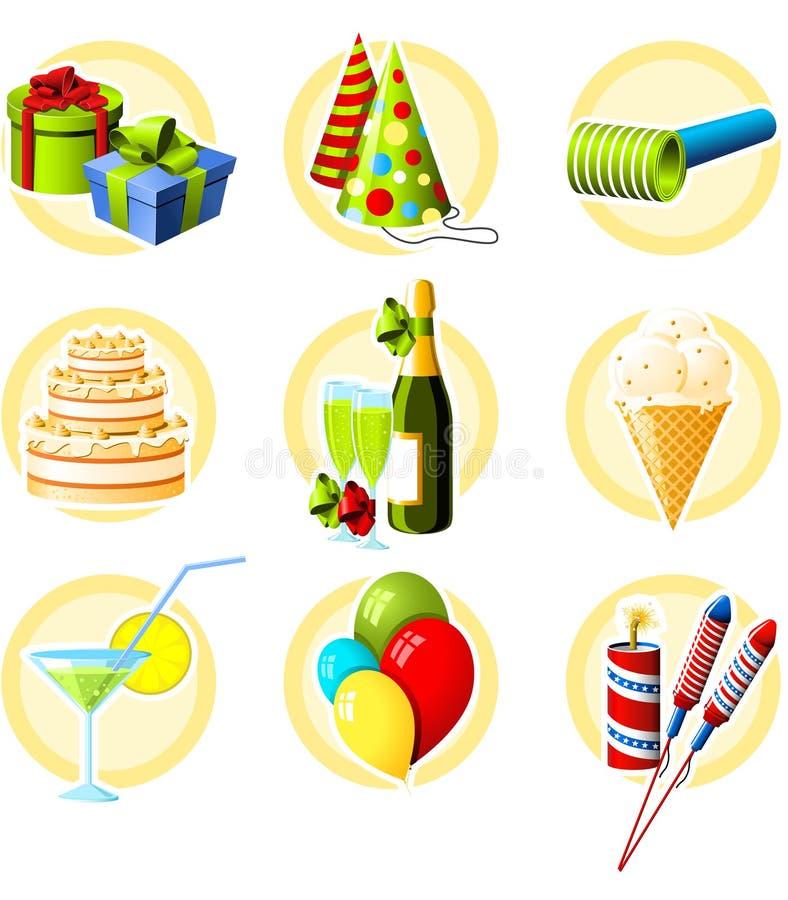 Jogo do ícone do aniversário ilustração stock