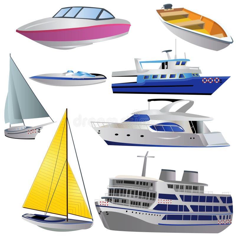 Jogo do ícone do barco ilustração stock
