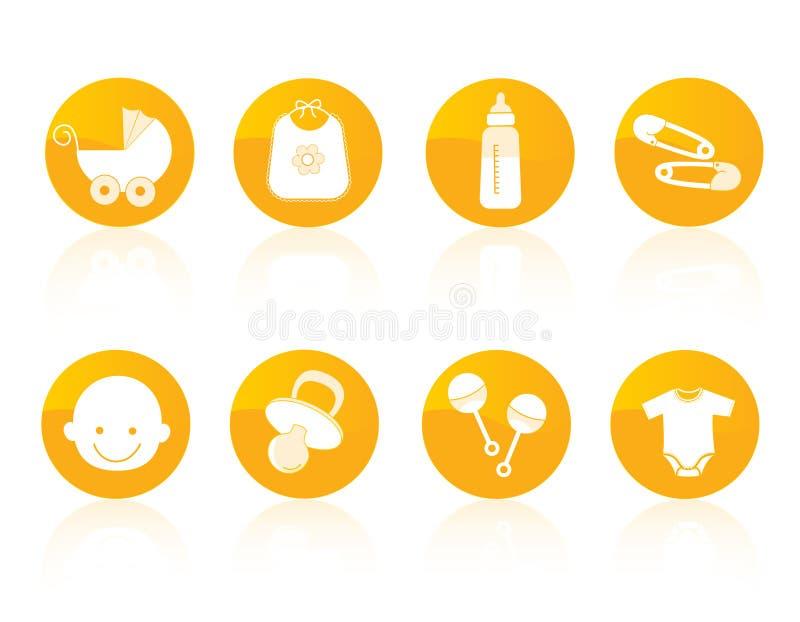 Jogo do ícone do bebê ilustração do vetor
