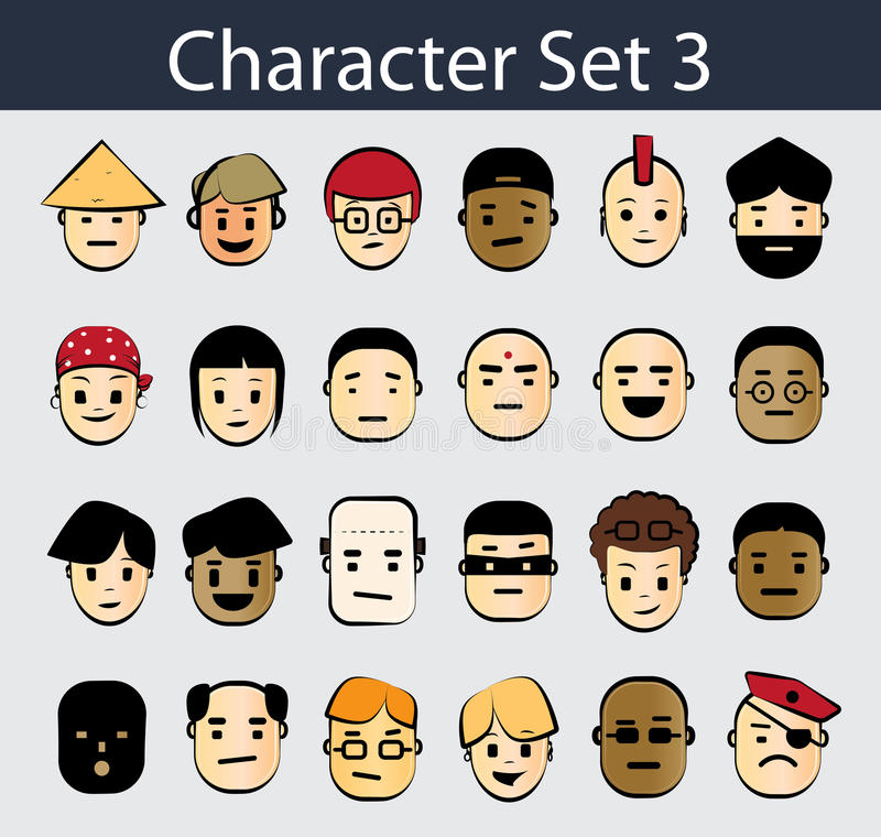 Jogo do ícone do caráter ilustração stock