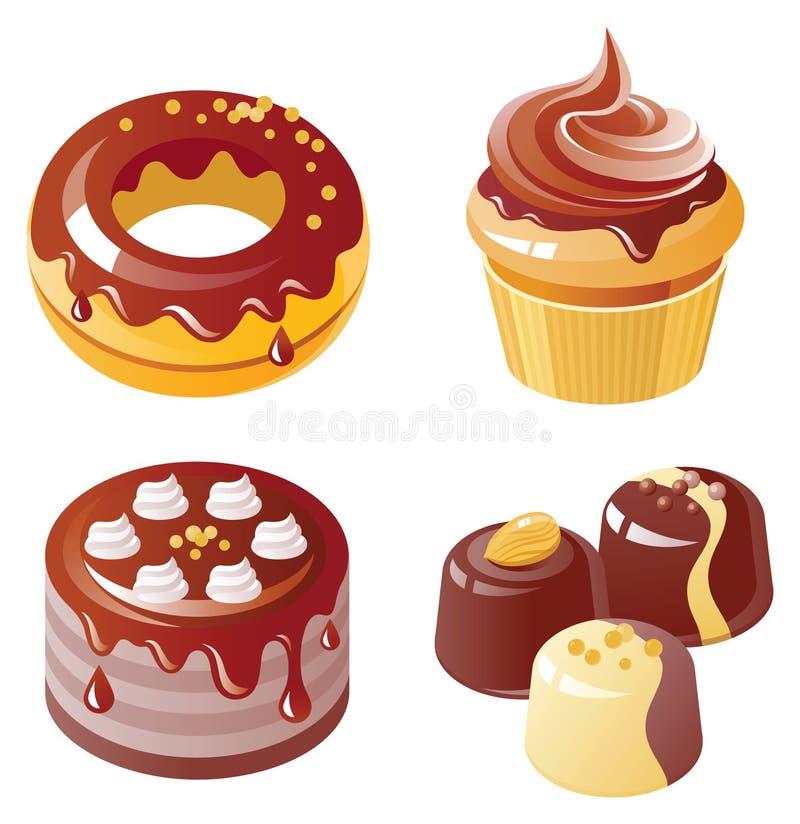 Jogo do ícone do chocolate ilustração stock