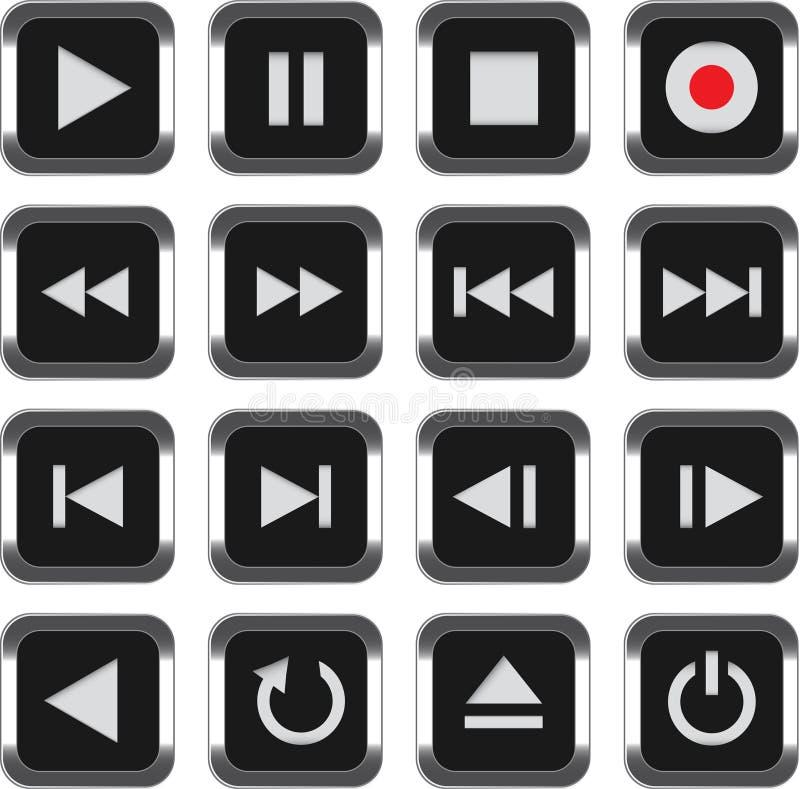 Jogo do ícone do controle dos multimédios ilustração do vetor