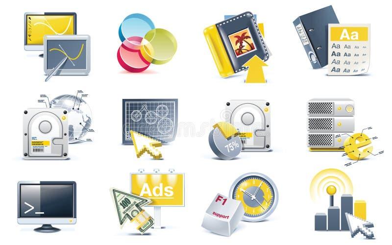Jogo do ícone do desenvolvimento do Web site do vetor ilustração royalty free