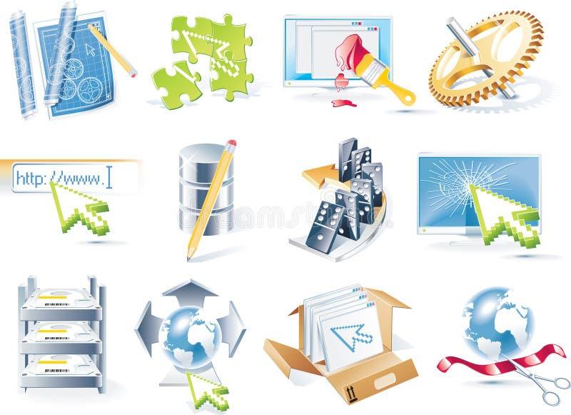 Jogo do ícone do desenvolvimento do Web site do vetor ilustração stock