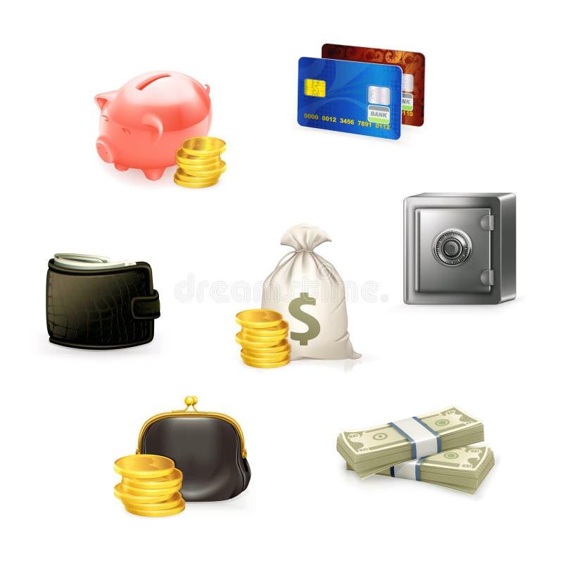 Jogo do ícone do dinheiro ilustração stock