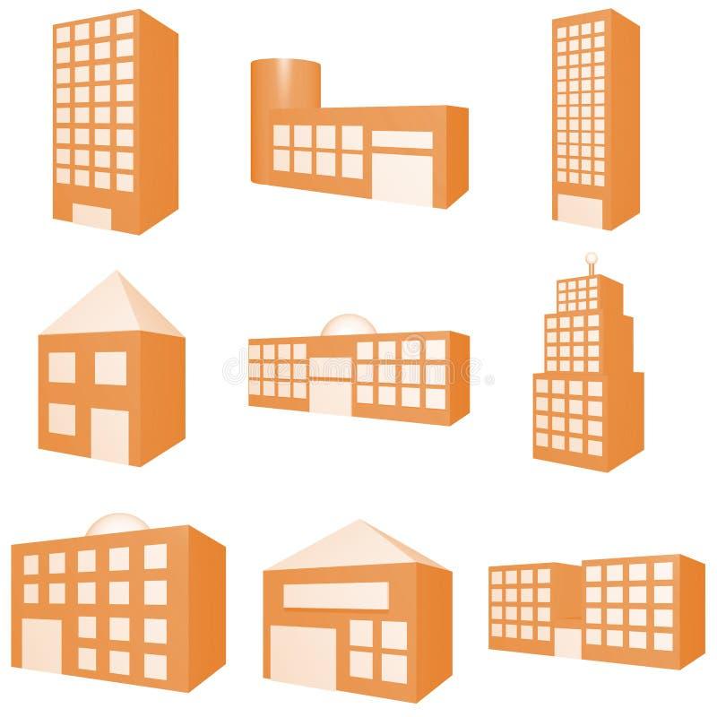 Jogo do ícone do edifício ilustração stock