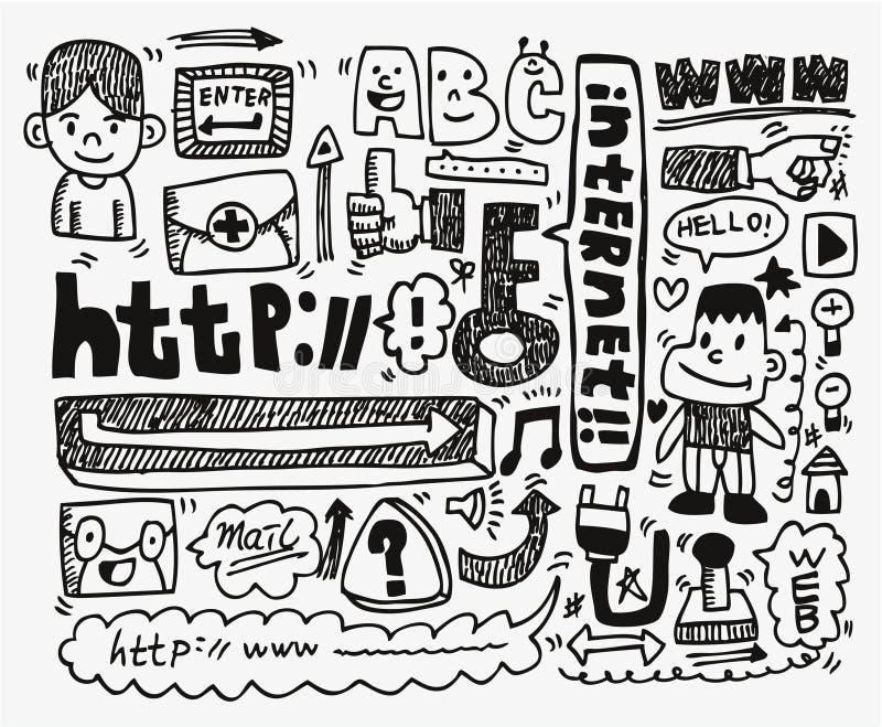 Jogo do ícone do elemento do Web do Doodle ilustração do vetor