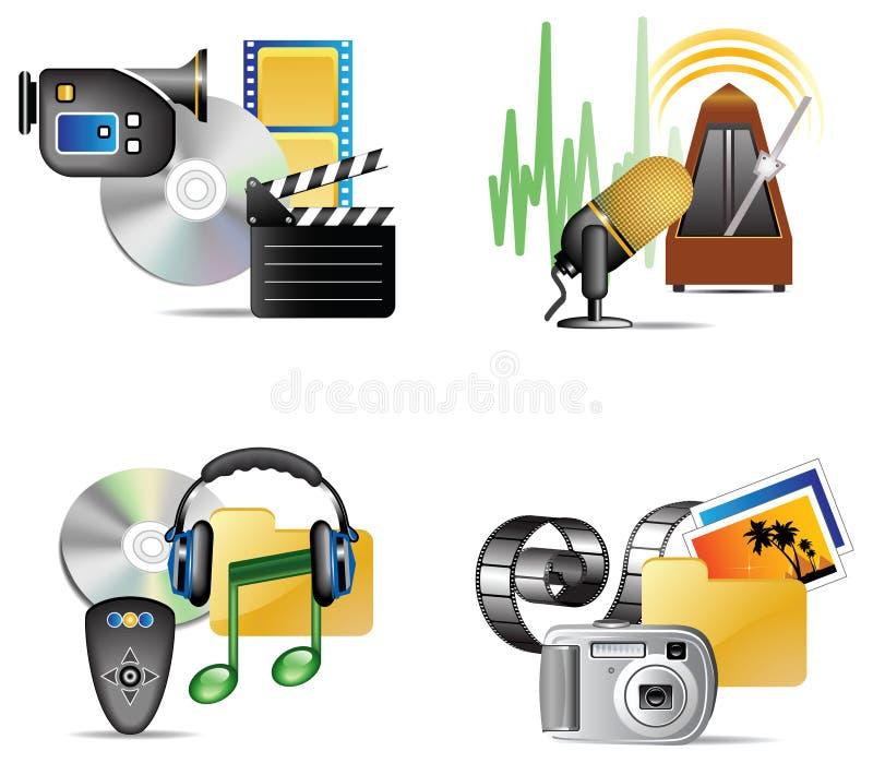 Jogo do ícone do Internet dos multimédios ilustração stock