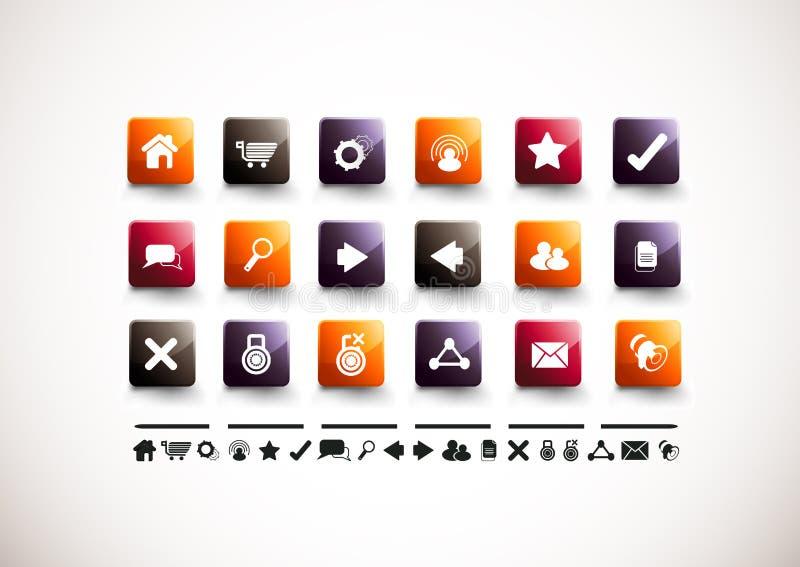 Jogo do ícone do Internet | Lustro elevado ilustração do vetor