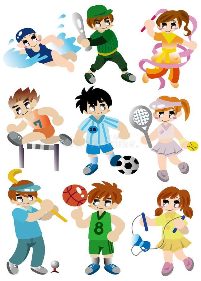 Jogo do ícone do jogador do esporte dos desenhos animados ilustração royalty free