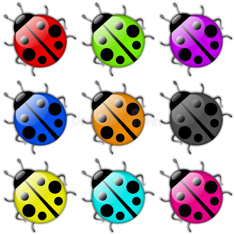 Jogo do ícone do Ladybug ilustração stock