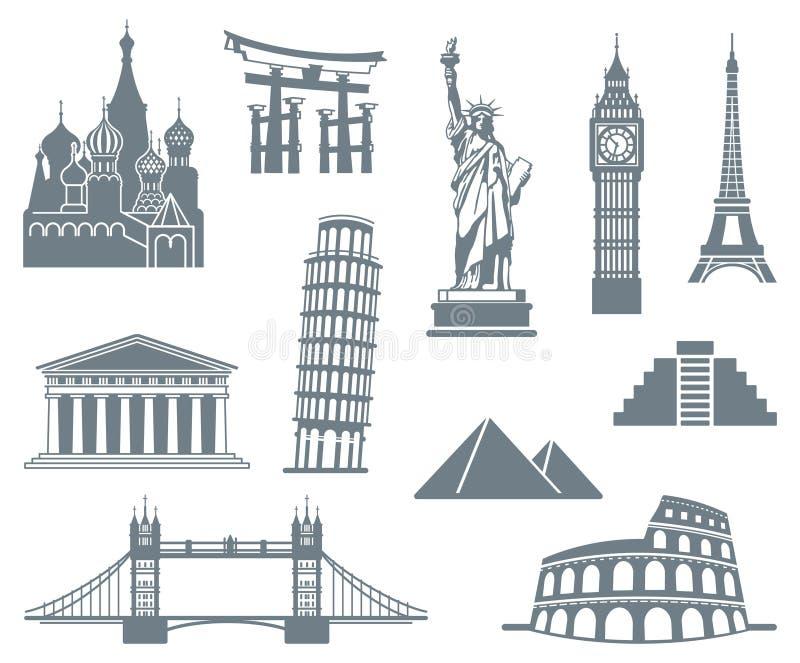 Jogo do ícone do marco do mundo ilustração stock