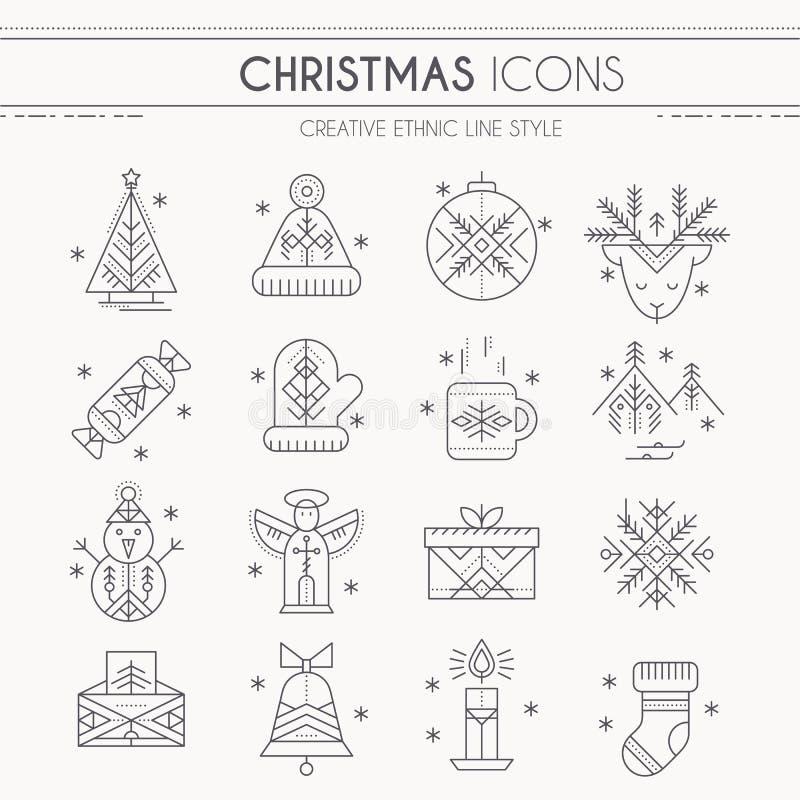 Jogo do ícone do Natal ilustração do vetor