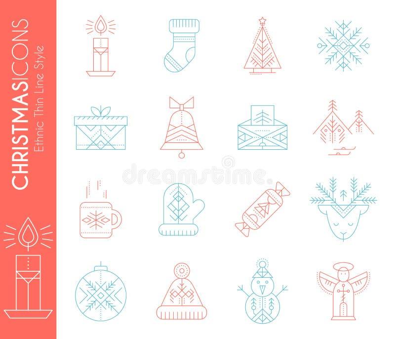 Jogo do ícone do Natal Coleção da linha criativa elementos do projeto do estilo ilustração royalty free