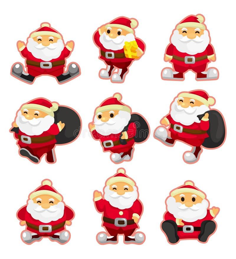 Jogo do ícone do Natal de Papai Noel dos desenhos animados ilustração royalty free