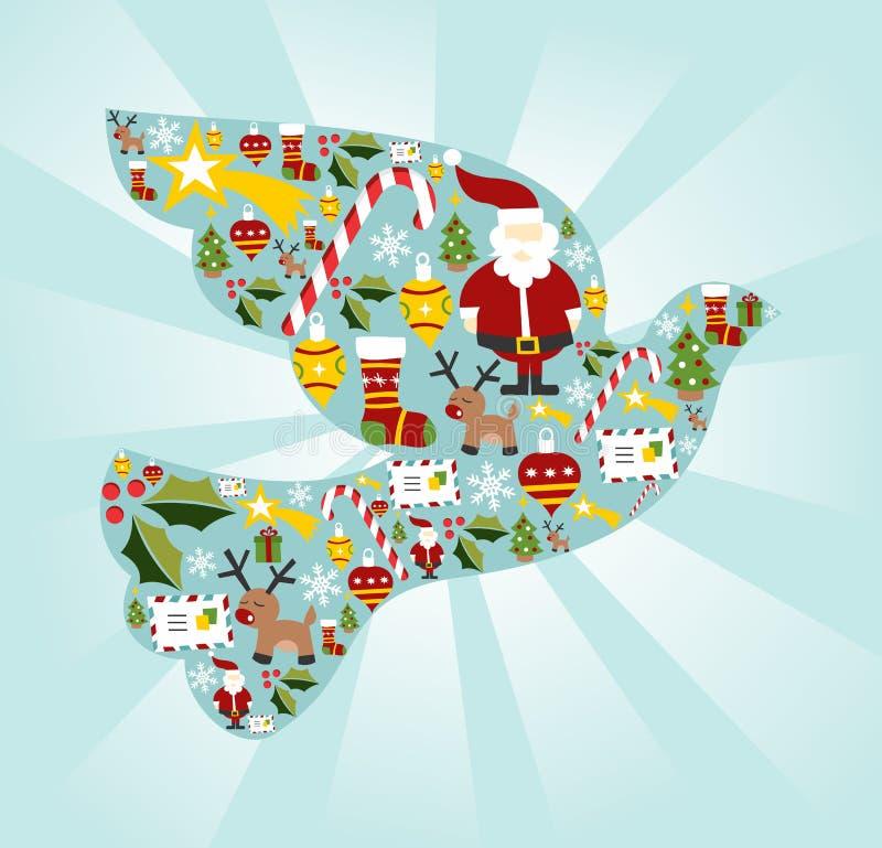 Jogo do ícone do Natal na pomba da forma da paz ilustração royalty free