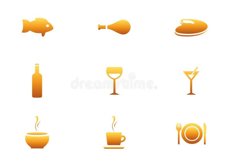 Jogo do ícone do restaurante. ilustração do vetor