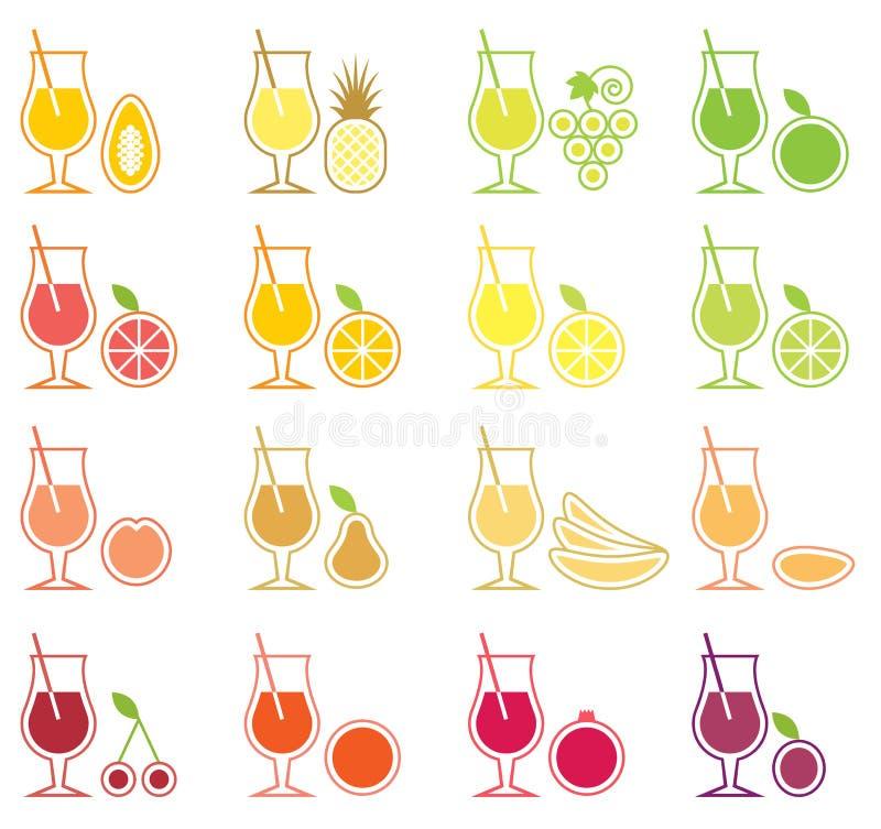 Jogo do ícone do suco de fruta ilustração do vetor