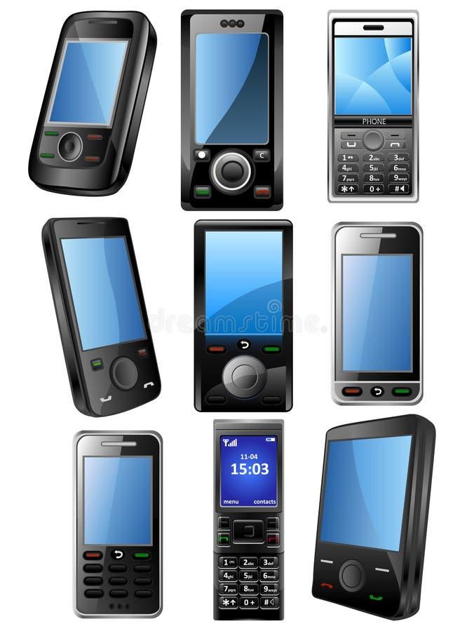 Jogo do ícone do telefone móvel ilustração do vetor