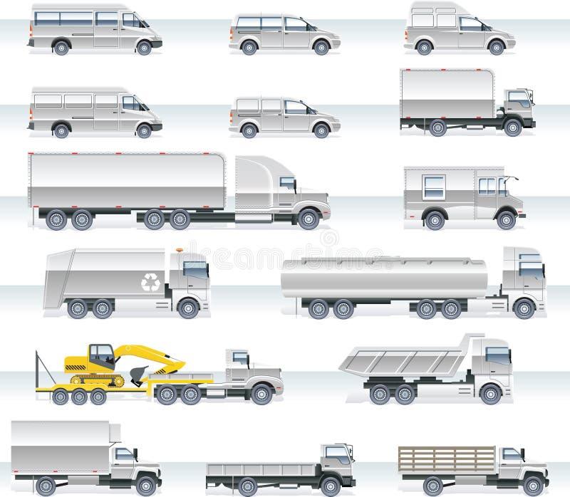 Jogo do ícone do transporte do vetor. Caminhões e camionetes ilustração do vetor