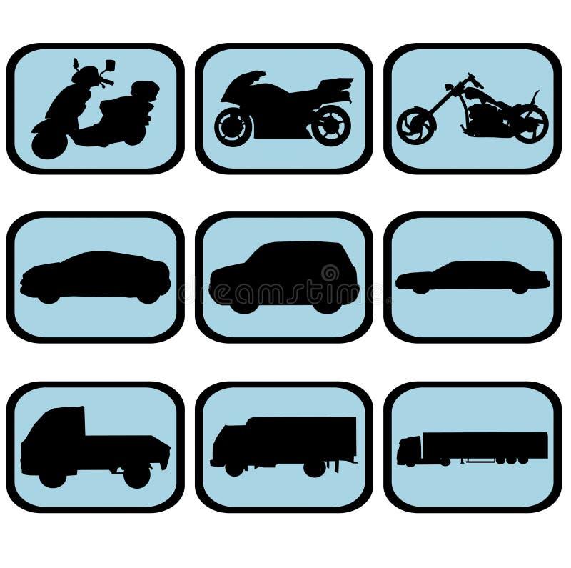 Jogo do ícone do veículo ilustração stock