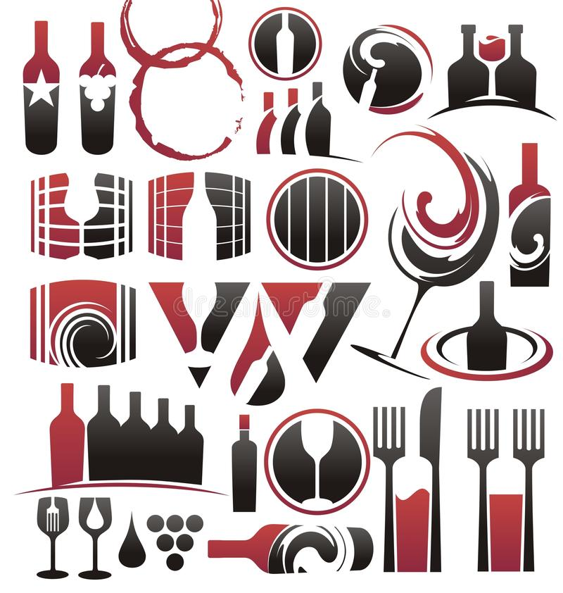 Jogo do ícone do vinho ilustração do vetor