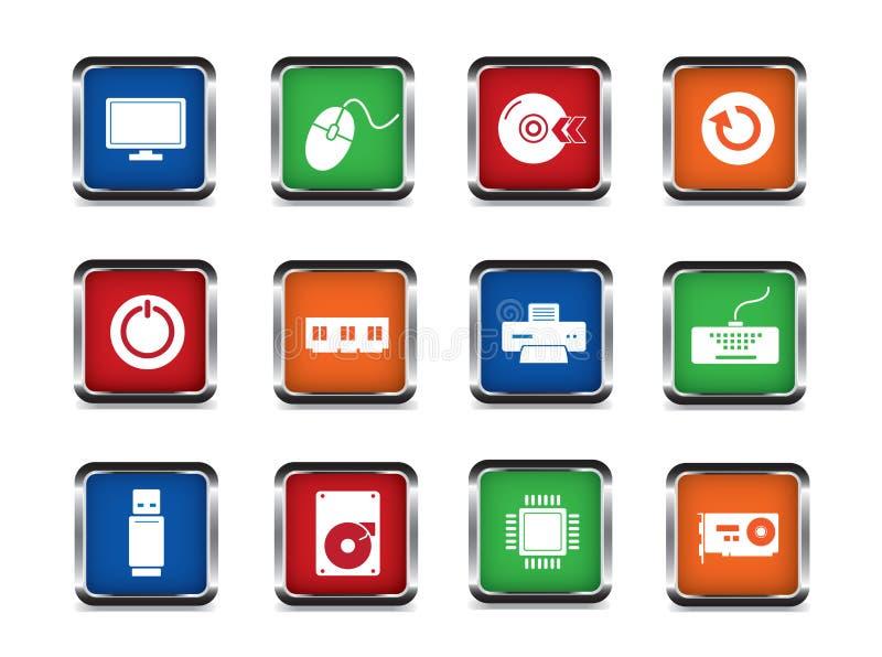 Jogo do ícone do Web do computador ilustração stock