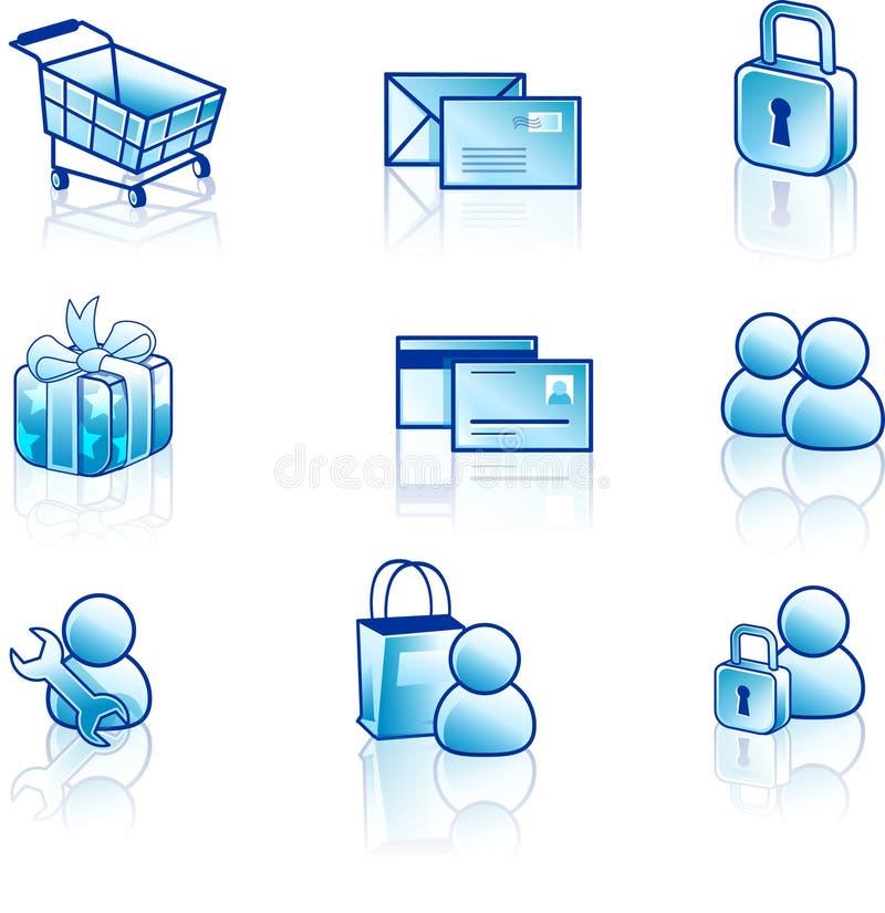 Jogo do ícone do Web e do Internet ilustração royalty free