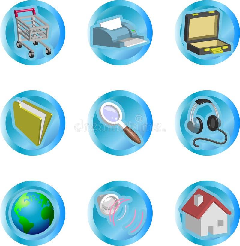 jogo do ícone do Web e do Internet da cor 3d ilustração royalty free