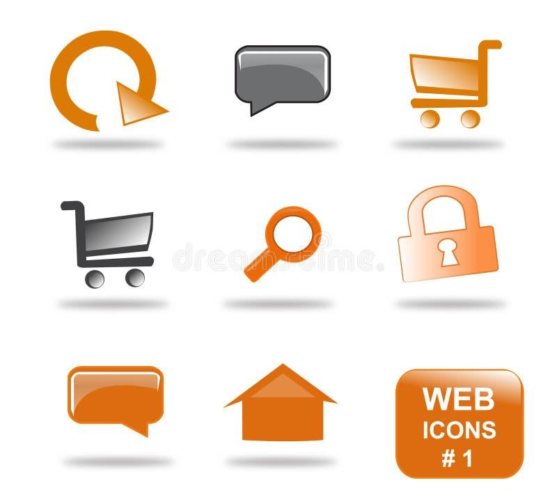 Jogo do ícone do Web site, parte 1 ilustração stock