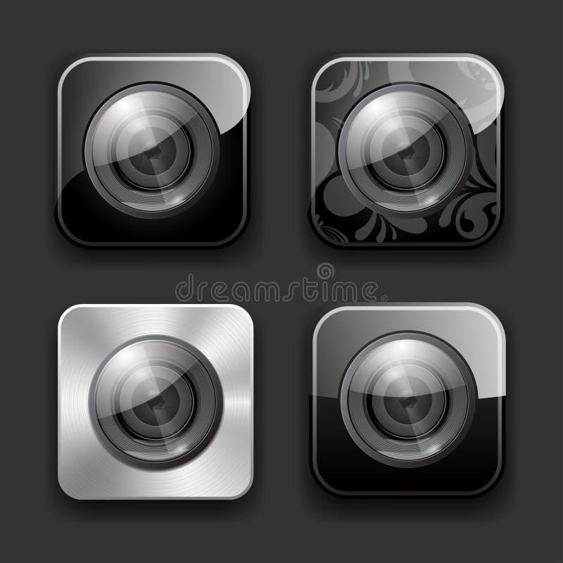 Jogo do ícone dos apps da câmera ilustração stock