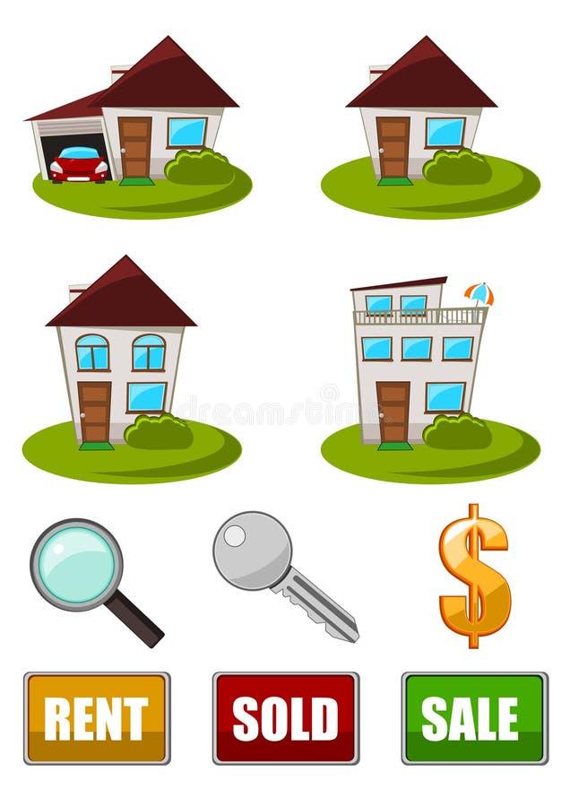 Jogo do ícone dos bens imobiliários foto de stock royalty free