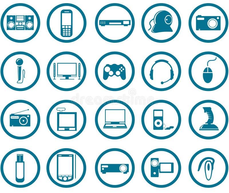 Jogo do ícone dos multimédios ilustração stock